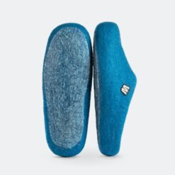 blue wool slippers both sides
