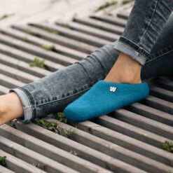 blue wool slippers with jeans
