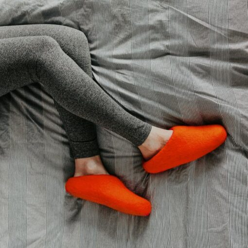 orange slippers woolig