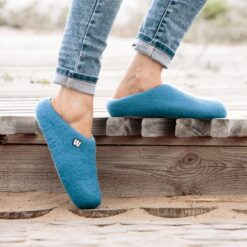 wool slippers blue on feet