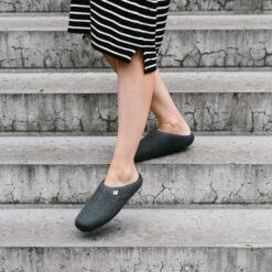 wool slippers grey on feet