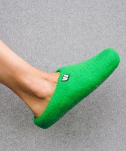 wool slippers on feet