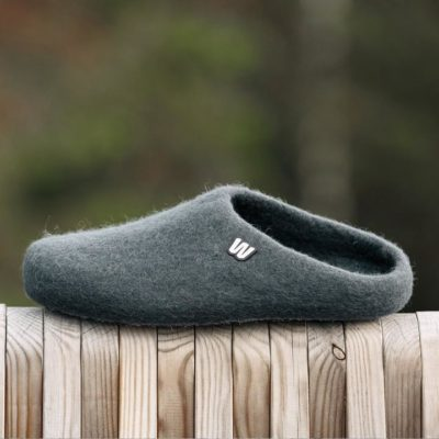 wool slippers gray
